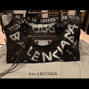 Balanciaga Graffiti Printed Classic Motorcycle Bag